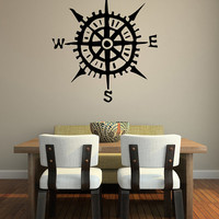 Wall Decal Compass Nautical Sea Ship Ocean Boat Captain Navigate Navigation Sail Sailor Coast