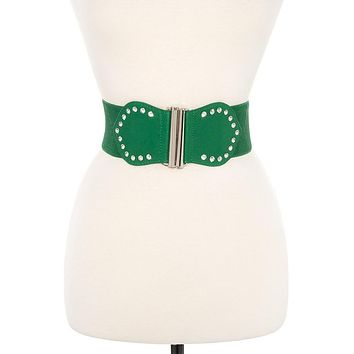 Belt in Many Colors Studded Elastic Wide Belt