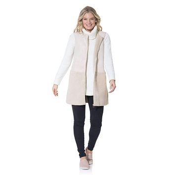 Sherpa/Suede Long Vest by Sail to Sable