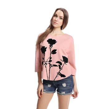 Apparel Pink Floral Print Women T-shirts New Fashion O-neck Raglan Sleeves Female Tops Cute Loose Casual Lady