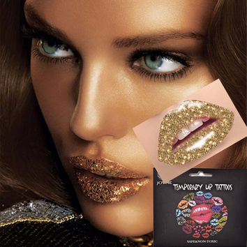 1pcs Fashion Waterproof Temporary Tattoo Lip Sticker Glitter Metallic Gold Lip Art Painting Makeup
