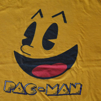 Vintage Yellow Pac-Man Cotton T-Shirt - Retro Hipster Tee Size M Medium