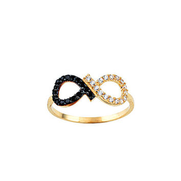 Infinity 14k Solid Gold Ring with Black & White Signity Cubic Zirconia Stones