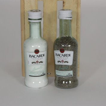 Mini Liquor Bottle Salt & Pepper Shakers Upcycled from Bacardi Mini Liquor Bottles