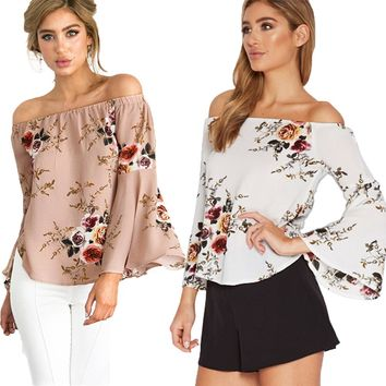 2017 Cute Floral Printed Boho Shirts Beach Women Summer Blouse Casual Off Shoulder Top Flare Sexy Slash Neck Blusa