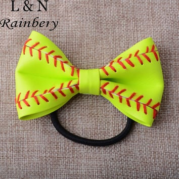 Softball Leather Hair Jewelry Bow Tie Woven Leather Pony Tail Holder