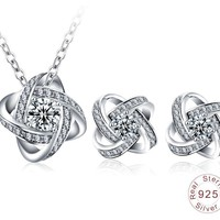 Jewelry Sets Real 925 Sterling Silver Pendants Necklaces /Earrings Stud Engagement Women Jewelry Sets