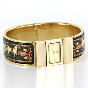 CREY2N Vintage Designer Hermes Loquet Gold Plated Enamel Bracelet Watch Estate Jewelry Tagre-