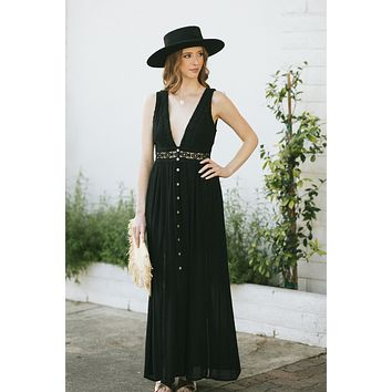 Anne Crochet Button Maxi Dress