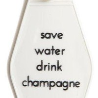 Save Water Drink Champagne Hotel/Motel Style Keychain in White and Gold