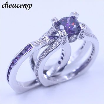 Luxury Women Jewelry Purple Birthstone zircon cz ring 925 Sterling Silver Engagement Wedding Band Ring for women Gift Sz 5-11
