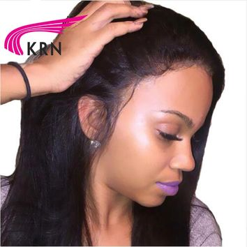 Brazilian Lace Front Human Hair Wigs Remy Hair Straight Wig With Baby Hair Natural Pre Plucked Hairline Full End