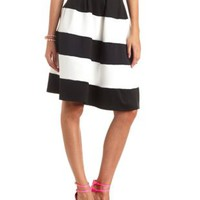 Striped High-Waisted Full Midi Skirt by Charlotte Russe