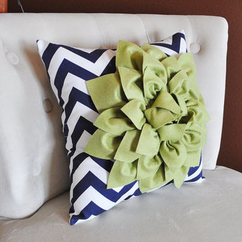 Decorative Throw Pillow Sage Green Dahlia on Navy and White Chevron Pillow -Home Decor-
