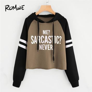 ROMWE Drawstring Colorblock Letter Varsity Striped Raglan Sleeve Hoodie Women Casual Spring Autumn Hooded Multicolor Sweatshirt