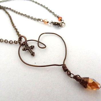 Bronze Cross Charm Love Heart Orange Copper colored Crystal bead Wire Wrapped handmade pendant necklace Christian Religious Jewelry Memorial