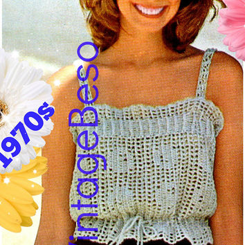 DIGITAL PATTERN • Ladies Camisole Crochet Pattern • PdF Pattern • Mesh Filet Top • Vintage 1970s Summer Top • Sizes S M L XL