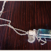 Ocean in a Bottle Necklace - Nautical Jewelry - Tiny Bottle on a Silver Chain