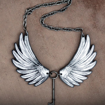 Angel Wings Acrylic Laser Cut Statement Necklace wtih Key - Goth, Fantasy, Steampunk