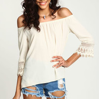 Cream Off Shoulder Crochet Top - LoveCulture