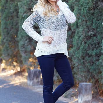 Black-Mocha-Ivory-Colorblock-Sparkle-Open-Knit-Sweater