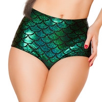 Green Scale High-Waist Mermaid Short