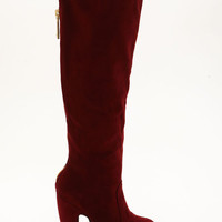 BURGUNDY ZIPPER KNEE HIGH BOOTS