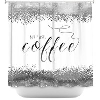 Shower Curtains By Zara Martina But First Coffee Silver