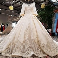 LS17410 2018 Luxury wedding dress v-neck ball gown keyhole back champagne elegant bridal wedding gowns with long train as photos