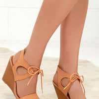Love and Devotion Camel Wedge Sandals