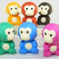 Monkey Japanese Erasers. 6 Pack. Assorted Dark Colors.