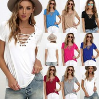 Sexy Women's V Neck Blouse Top Shirt Sleeve Bandage Slim Fit Bottoming Shirts