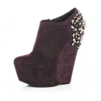 dark purple gem wedge ankle boots