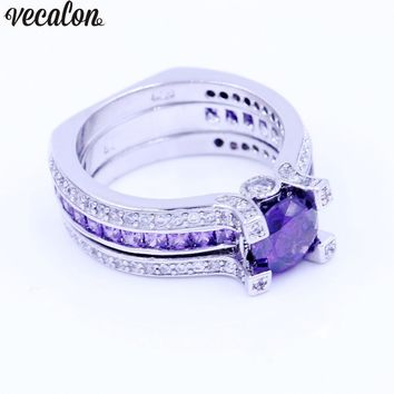 Vecalon Fashion Couple Engagement ring Purple 5A zircon Cz 925 Sterling Silver Birthstone wedding Band ring Set for women men