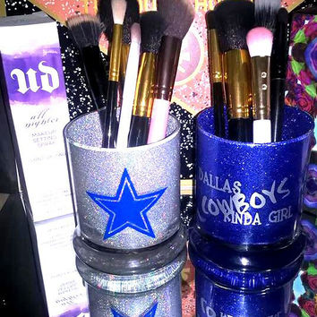 2PC set Dallas Cowboys Football Makeup Brush Holders - YOU CUSTOMIZE!