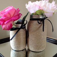 Decorative Twine Wrapped Mason Jars