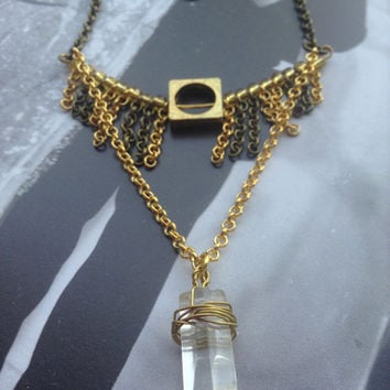 Fringe and QUARTZ Necklace // Quartz Crystal Point pendant // Vintage Necklace // Necklace // Native style // Antique Brass Gold