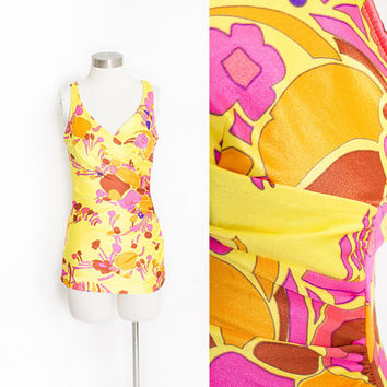 Vintage 1970s Bathing Suit - Floral Pink Yellow  Printed Nylon One Piece Swimsuit 60s - Medium