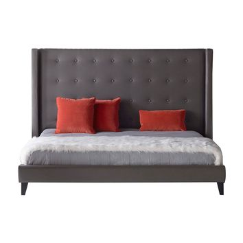Mid Century Modern Wooden Standard King Upholstered Bed In Pebble Gray