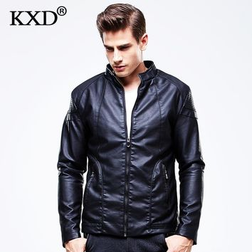 New Fashion PU Leather Jacket Men Black Red Brown Solid Mens Faux Fur Coats Trend Slim Fit Youth Motorcycle Suede Jacket Male