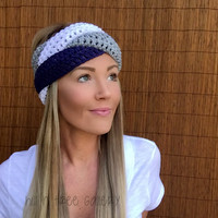 Dallas Cowboys Navy Blue White Grey Braid Head Wrap Hair Accessory Band Earwarmer Fall Texas Gray Headband Fashion Girl Woman Unisex Boy Men