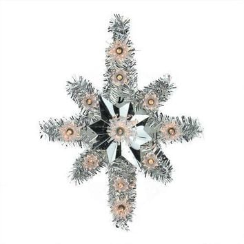 "11"" Lighted Silver Tinsel Star of Bethlehem Christmas Tree Topper - Clear Lights"