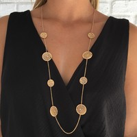 Around Full Circle Long Necklace In Gold