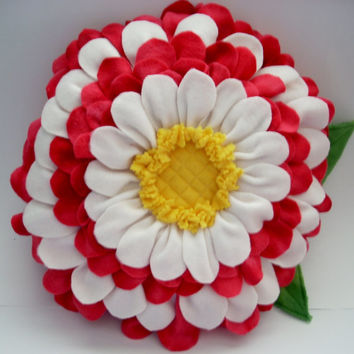 flower pillow 3D ,red and white with quilted center