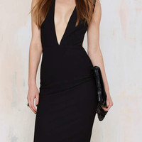 Black Deep V-Neckline Sleeveless Cut Out Back Midi Bodycon Dress