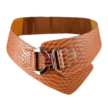 Brown Faux Textured Leather Cinch Belt