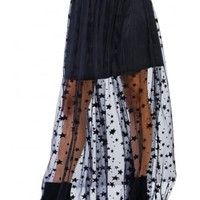 Mesh Star Maxi Skirt | Attitude Clothing