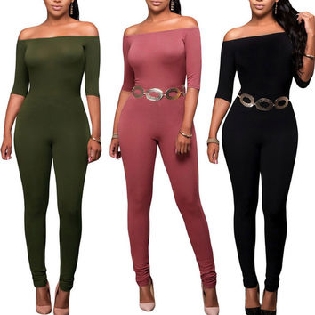 Womens 2016 Spring Summer Elegant Sexy Off Shoulder Jumpsuits Slim Bodycon Work Casual Sleeveless Sheath Jumpsuit Romper 3 Color