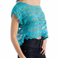 crop crochet top $29.40 in AQUA LEMON - Short Sleeve | GoJane.com