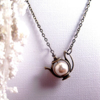 Teapot Necklace - Pearl - Tea Charm
